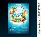 vector summer beach party flyer ... | Shutterstock .eps vector #1109917202