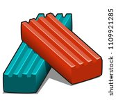 two pieces of blue and red... | Shutterstock .eps vector #1109921285