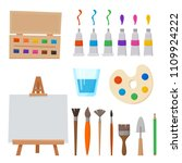 art tools and materials for... | Shutterstock .eps vector #1109924222