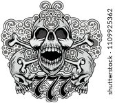 gothic coat of arms with skull  ... | Shutterstock .eps vector #1109925362
