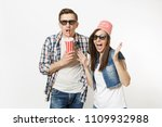 young shocked couple  woman and ... | Shutterstock . vector #1109932988