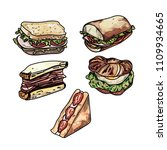 set of delicious sandwich... | Shutterstock .eps vector #1109934665