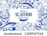 seafood vector frame... | Shutterstock .eps vector #1109937518