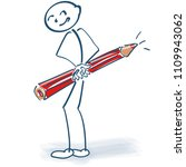 stick figure with red pencil... | Shutterstock .eps vector #1109943062
