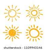 four hand drawn suns on white... | Shutterstock .eps vector #1109943146