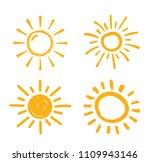four hand drawn suns on white... | Shutterstock .eps vector #1109943146