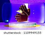 golden sign language icon on...