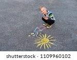 little child boy smiling siting ... | Shutterstock . vector #1109960102