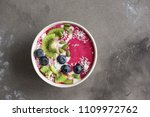 smoothie bowl with fresh... | Shutterstock . vector #1109972762