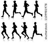 set of silhouettes. runners on... | Shutterstock . vector #1109981978