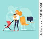 woman at work with child. flat... | Shutterstock .eps vector #1109985518