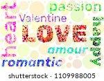 "word ""love"" ""amour"" ""valentine"" ... | Shutterstock .eps vector #1109988005"