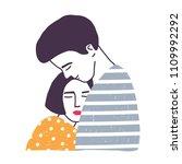 hugging boyfriend and... | Shutterstock .eps vector #1109992292
