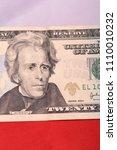 twenty dollar bill in front of... | Shutterstock . vector #1110010232