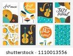 vector set of jazz festival...   Shutterstock .eps vector #1110013556