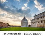 dramatic sunset over the piazza ... | Shutterstock . vector #1110018308