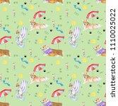corgi pattern. hand painting .... | Shutterstock . vector #1110025022