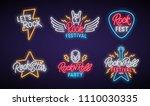 rock neon signboard set. let's... | Shutterstock .eps vector #1110030335