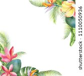 watercolor card with tropical... | Shutterstock . vector #1110050936