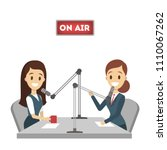 radio presenters. isolated... | Shutterstock .eps vector #1110067262
