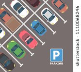 parking in city. cars with... | Shutterstock .eps vector #1110068246