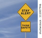road sign with a safety...   Shutterstock . vector #111007946