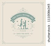 wedding invitation card design... | Shutterstock .eps vector #1110086345