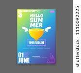 vector hello summer beach party ... | Shutterstock .eps vector #1110092225