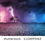 lightning strikes a tree in a... | Shutterstock . vector #1110095465