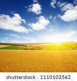 wheat field and sun in the sky | Shutterstock . vector #1110103562