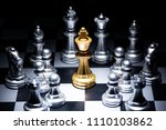 a gold chess surrounded by a... | Shutterstock . vector #1110103862