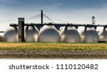 large digestion towers for the... | Shutterstock . vector #1110120482