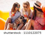 girls friends with coctails... | Shutterstock . vector #1110122075