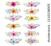 floral watercolor collection... | Shutterstock .eps vector #1110138005