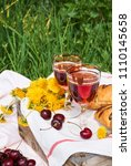 picnic on the grass with red... | Shutterstock . vector #1110145658