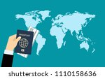 passport hand travel document... | Shutterstock .eps vector #1110158636