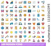 100 passion icons set. cartoon... | Shutterstock . vector #1110162395