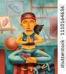 funny cartoon style yoga... | Shutterstock . vector #1110164636