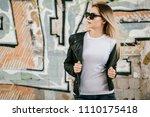 girl wearing t shirt  glasses... | Shutterstock . vector #1110175418
