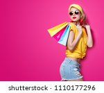 young redhead girl in yellow t... | Shutterstock . vector #1110177296
