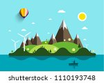 ocean landscape with island and ... | Shutterstock .eps vector #1110193748