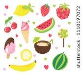 set of summer fruits  ice cream ... | Shutterstock .eps vector #1110197072