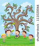 illustration of kids under a... | Shutterstock .eps vector #111020066