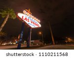 famous las vegas sign at night... | Shutterstock . vector #1110211568