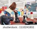 two children playing giant...   Shutterstock . vector #1110241832