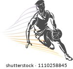 basketball front dribble shadow   Shutterstock .eps vector #1110258845