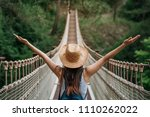 happy travel woman on vacation...   Shutterstock . vector #1110262022