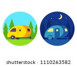 retro camper trailer  day and... | Shutterstock .eps vector #1110263582