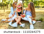 three nice girls having fun... | Shutterstock . vector #1110264275