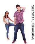 couple having fun. young woman... | Shutterstock . vector #111026552